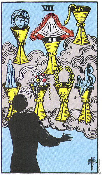 Seven of Cups, from the Rider-Waite-Smith Tarot